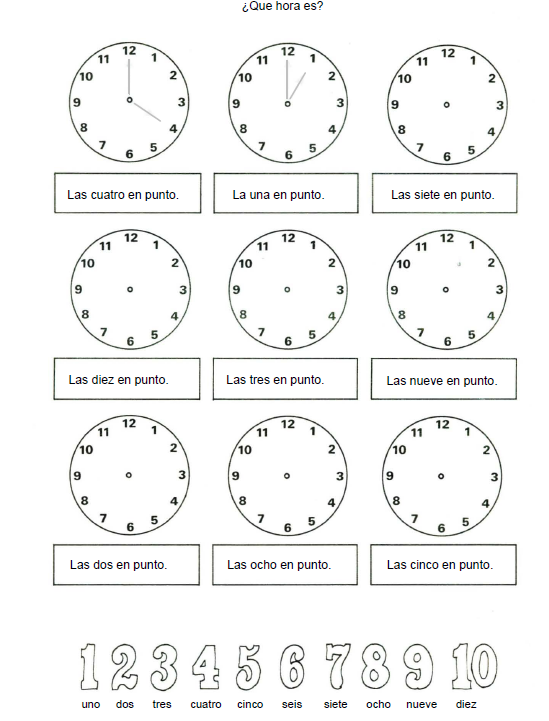 Actividad para aprender las horas
