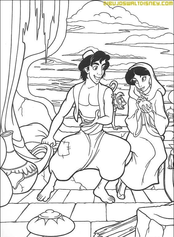 Aladdín y Jasmine en el poblado