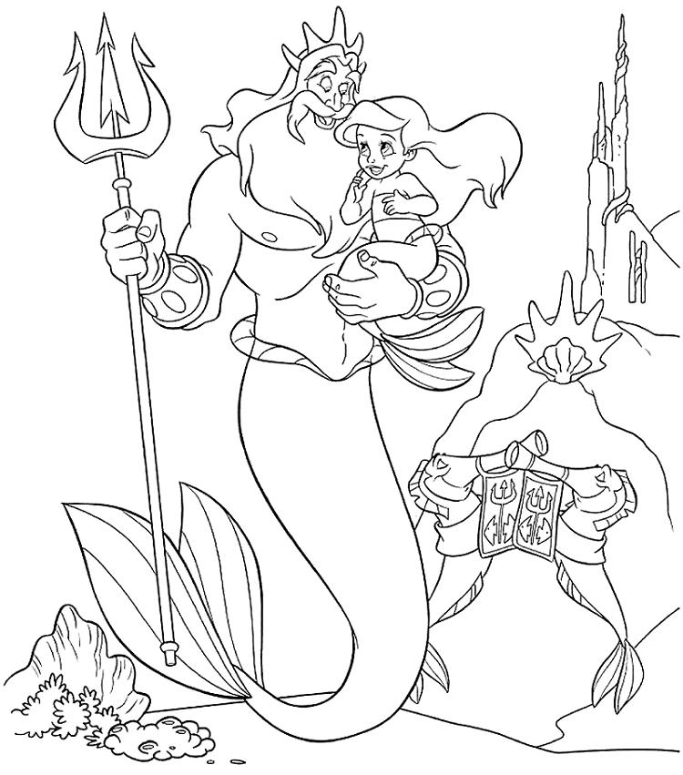 La Sirenita en brazos de su papá