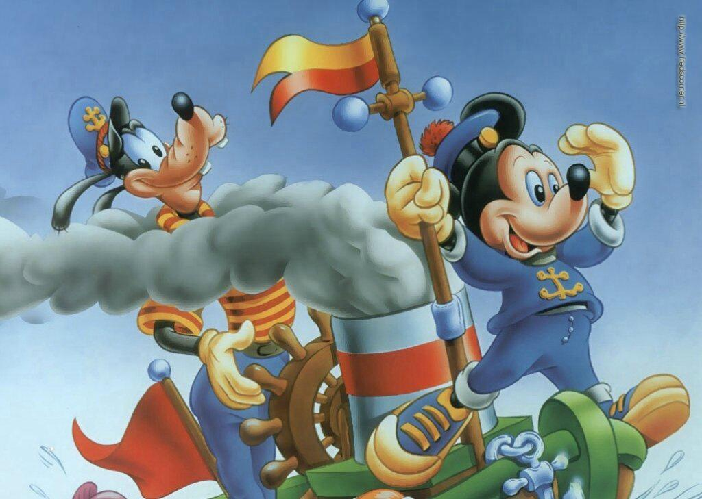 Mickey y Pluto en Barco
