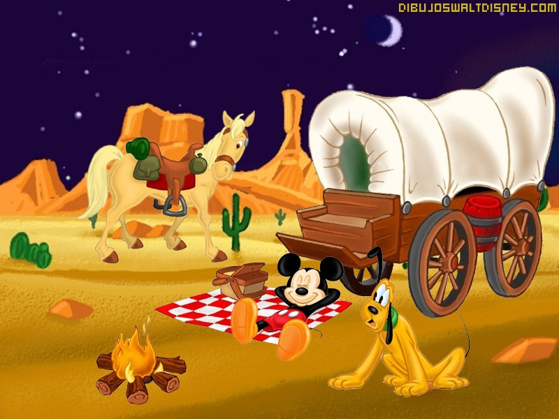 Mickey y Pluto en el lejano Oeste