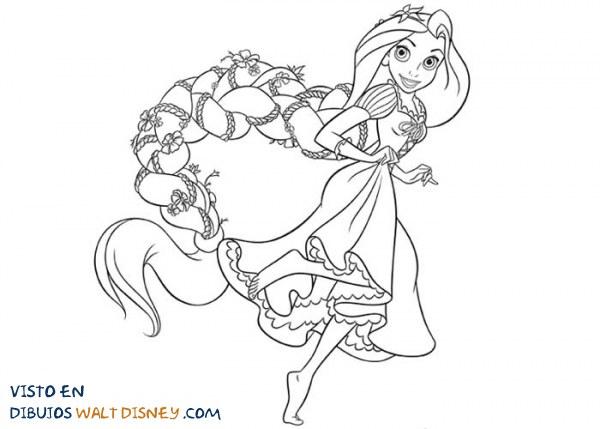 Dibujos Para Colorear Rapunzel: Rapunzel Con Una Preciosa Trenza