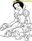 Colorea a Blanca Nieves y sus amigos