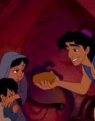 Aladin ofreciendo comida a los pobres