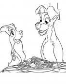 Dama y Vagaundo comparten spaguettis