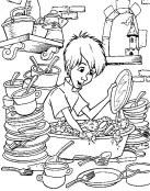 Merlín fregando platos