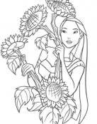 Pocahontas posa entre girasoles gigantes