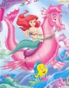 Ariel montada en caballito de mar