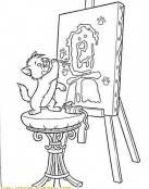 Aristogato pintando un cuadro