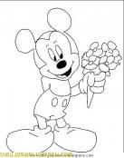 Mickey Mouse con un ramo de flores