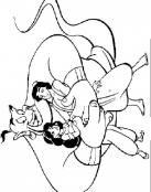 Aladdin y Jasmine en brazos del genio